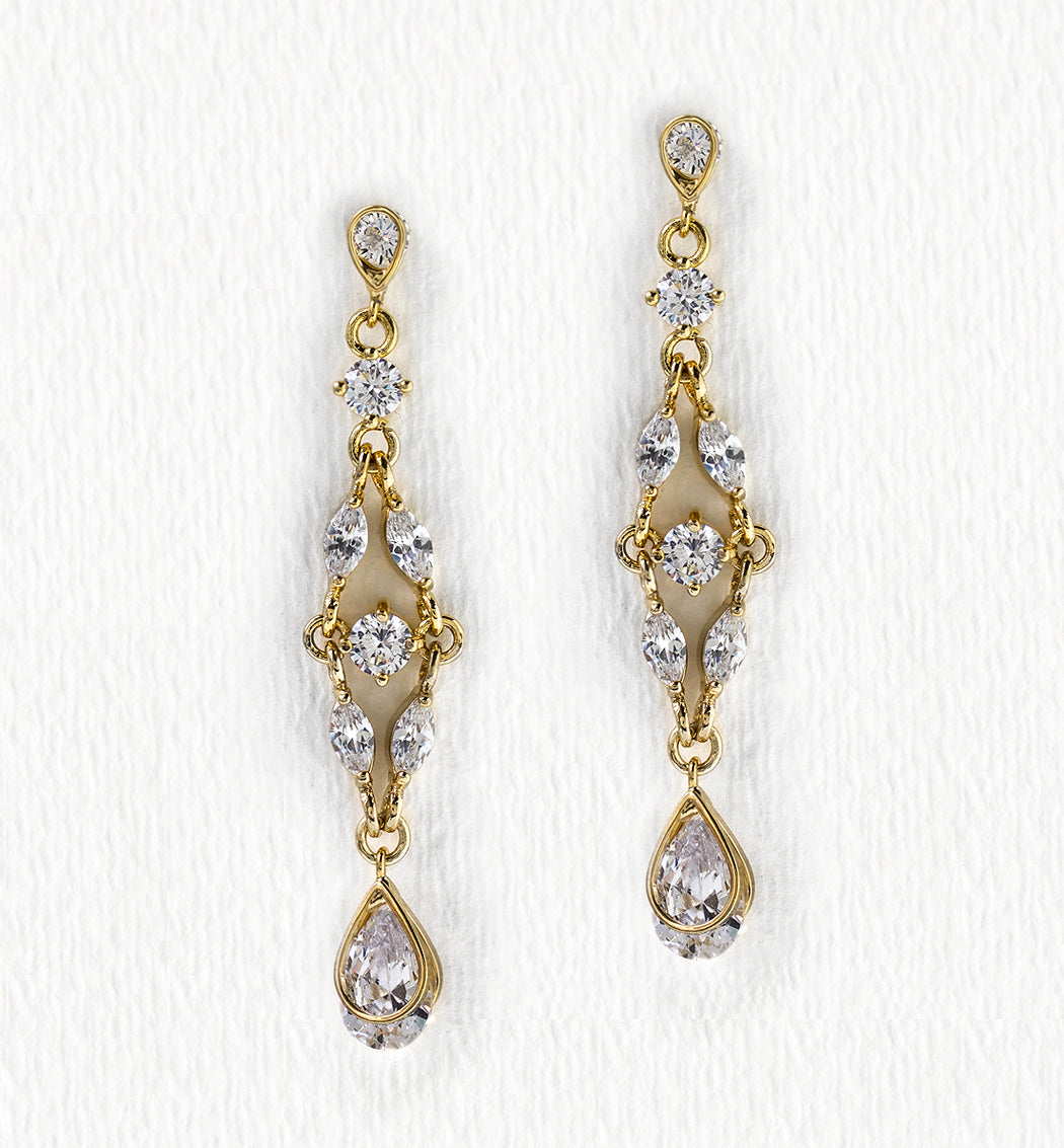 Marquise Dainty Drop Earrings - Amy O. Bridal