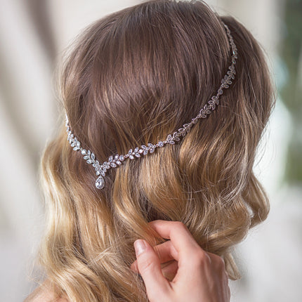 Boho Crystal Leaf Hair Vine Halo