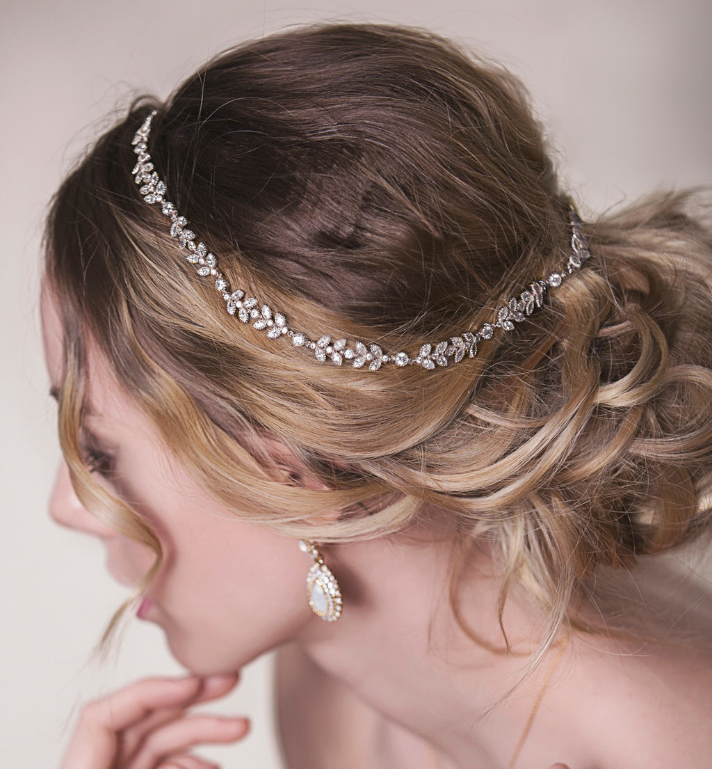 Boho Leaf Silver Halo Headpiece