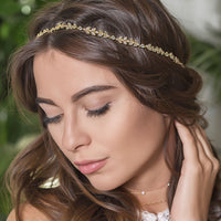 Boho Leaf Headband with Ribbon