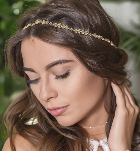 Boho Gold Leaf Headband