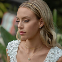 Boho Crystal Leaf Vine Headband