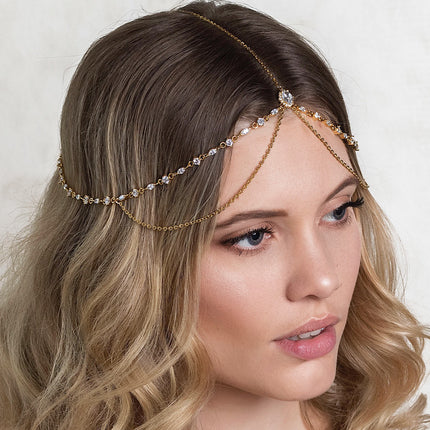 Marquise Crystal and Chain Tiered Headpiece