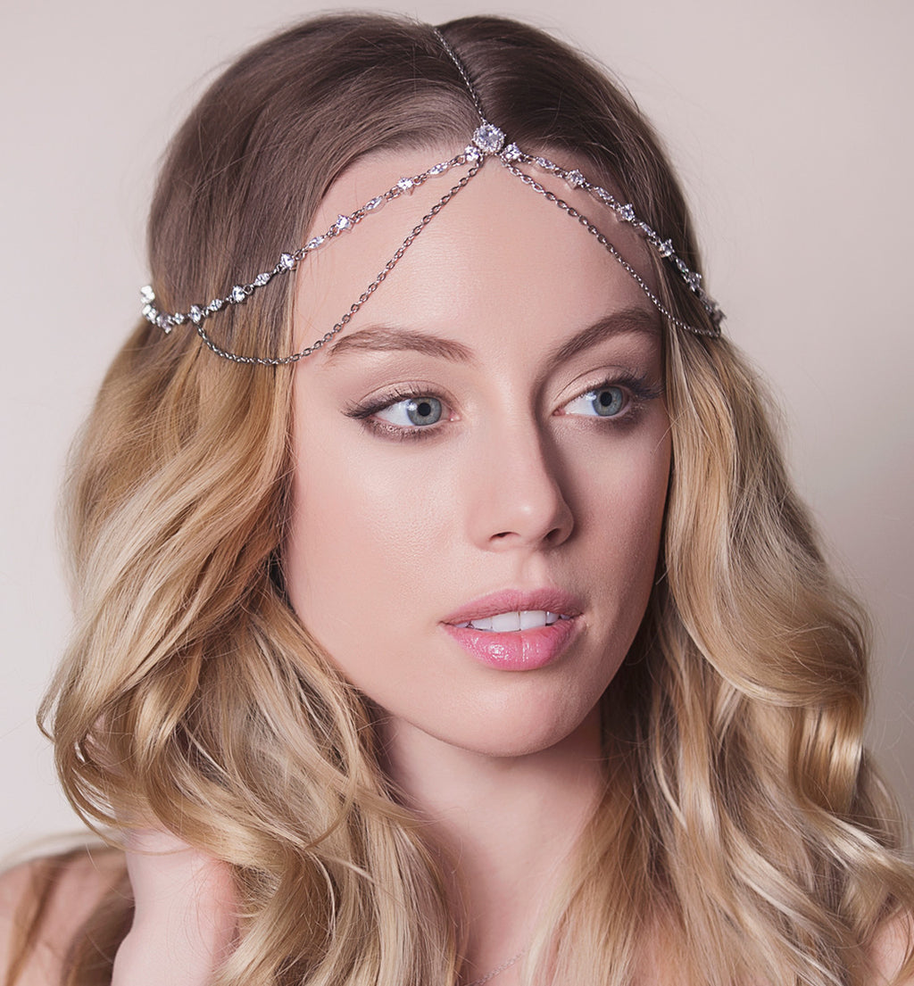 Cleo Goddess Crystal Silver Headpiece