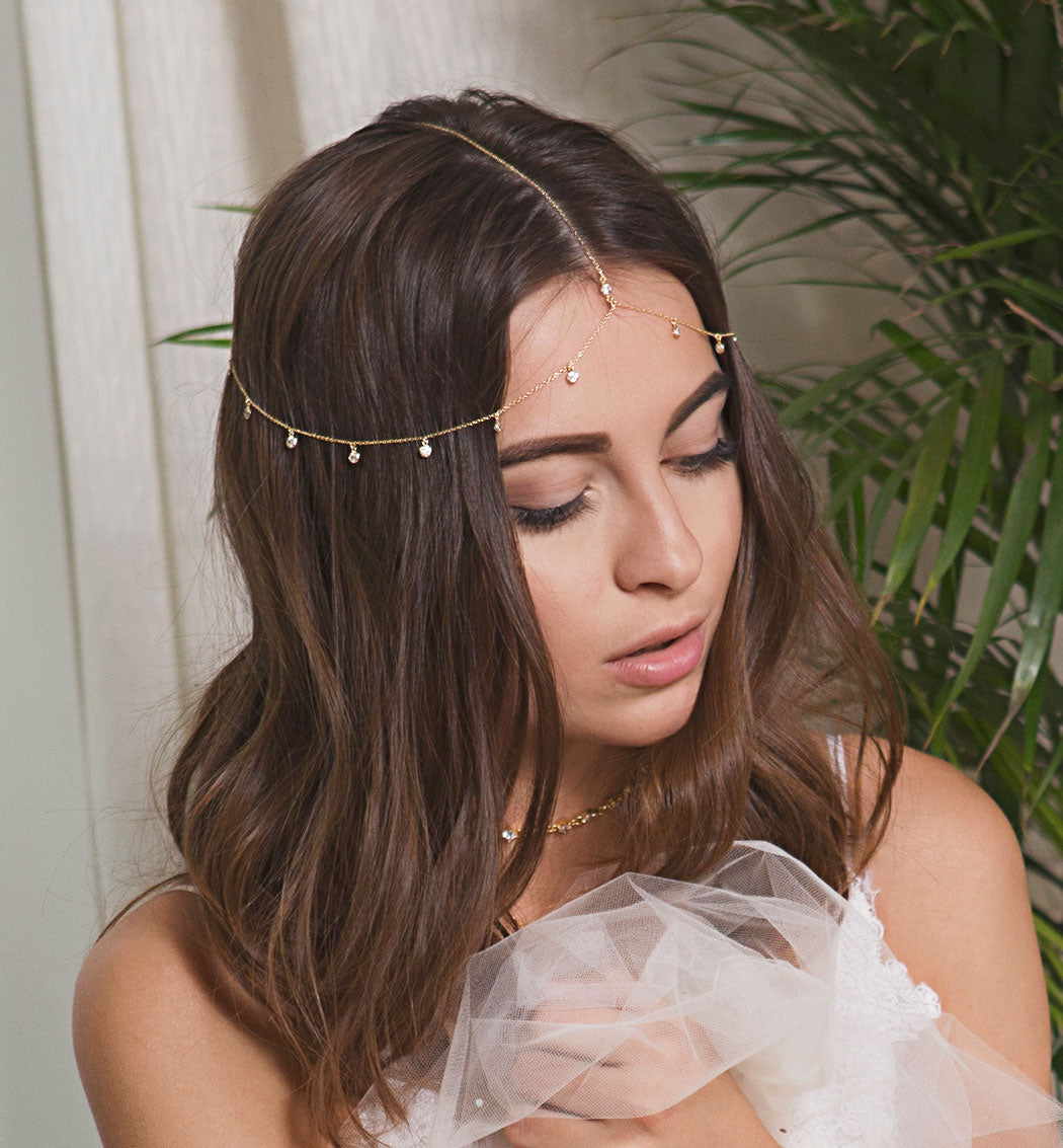 Sienna Crystal Dangle Headpiece - Amy O. Bridal