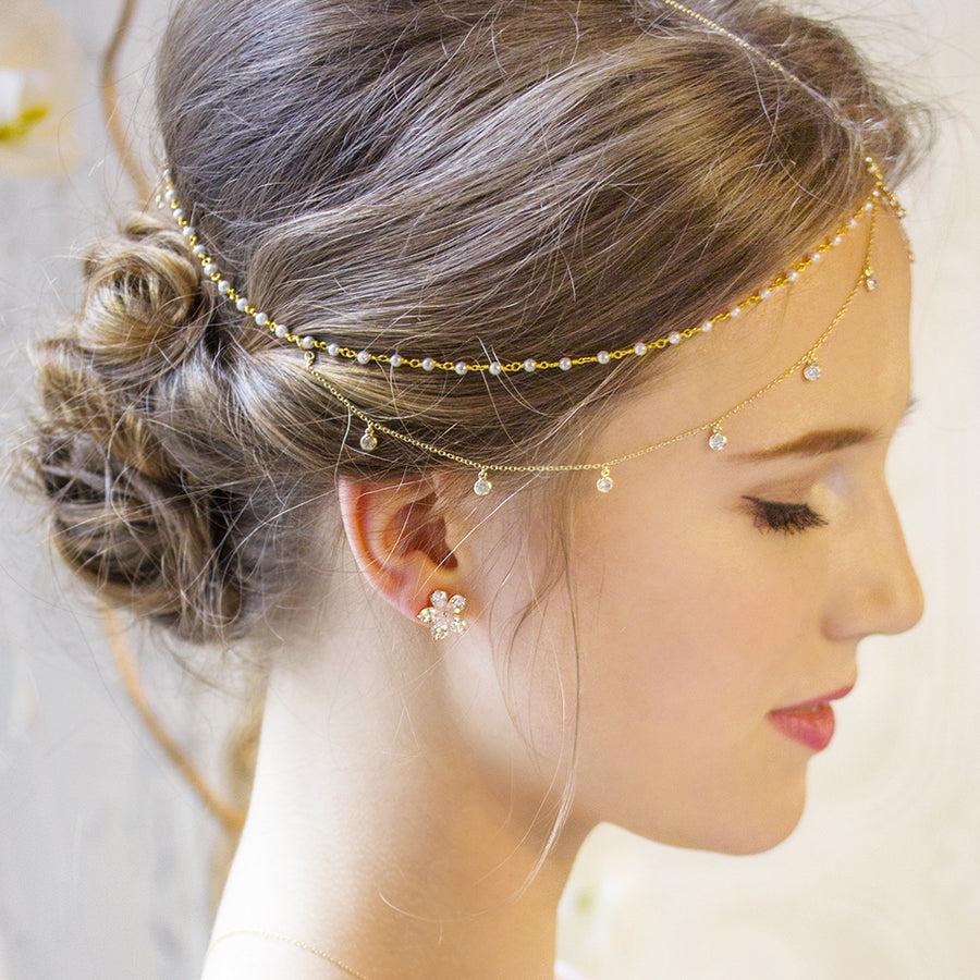 Dakota Pearl Dangle Headpiece - Amy O. Bridal