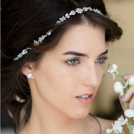 Fleur Crystal Headpiece with Ribbon Tie