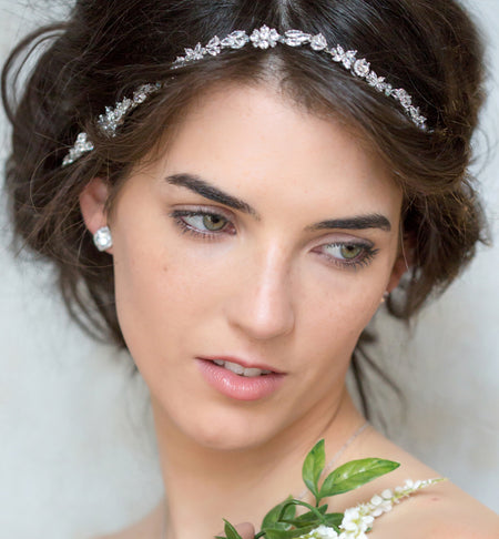 Fleur Crystal Headpiece with Ribbon Tie - Amy O. Bridal