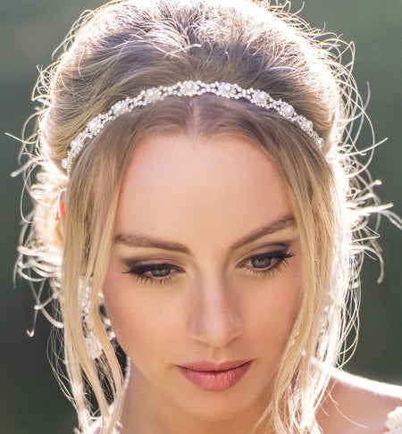 Ivory Pearl Crystal Headband in Silver