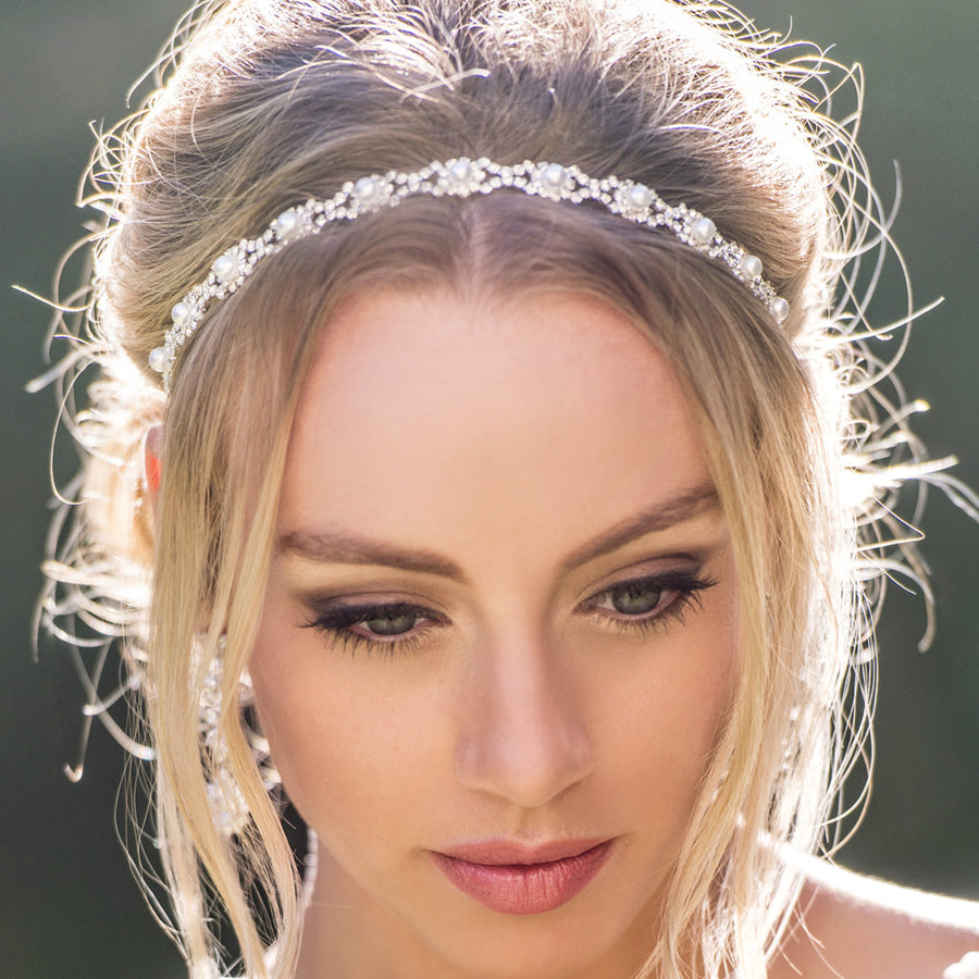 Eden Pearl & Crystal Headband - Amy O. Bridal
