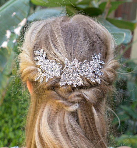Crystal Floral Leaf Statement Comb
