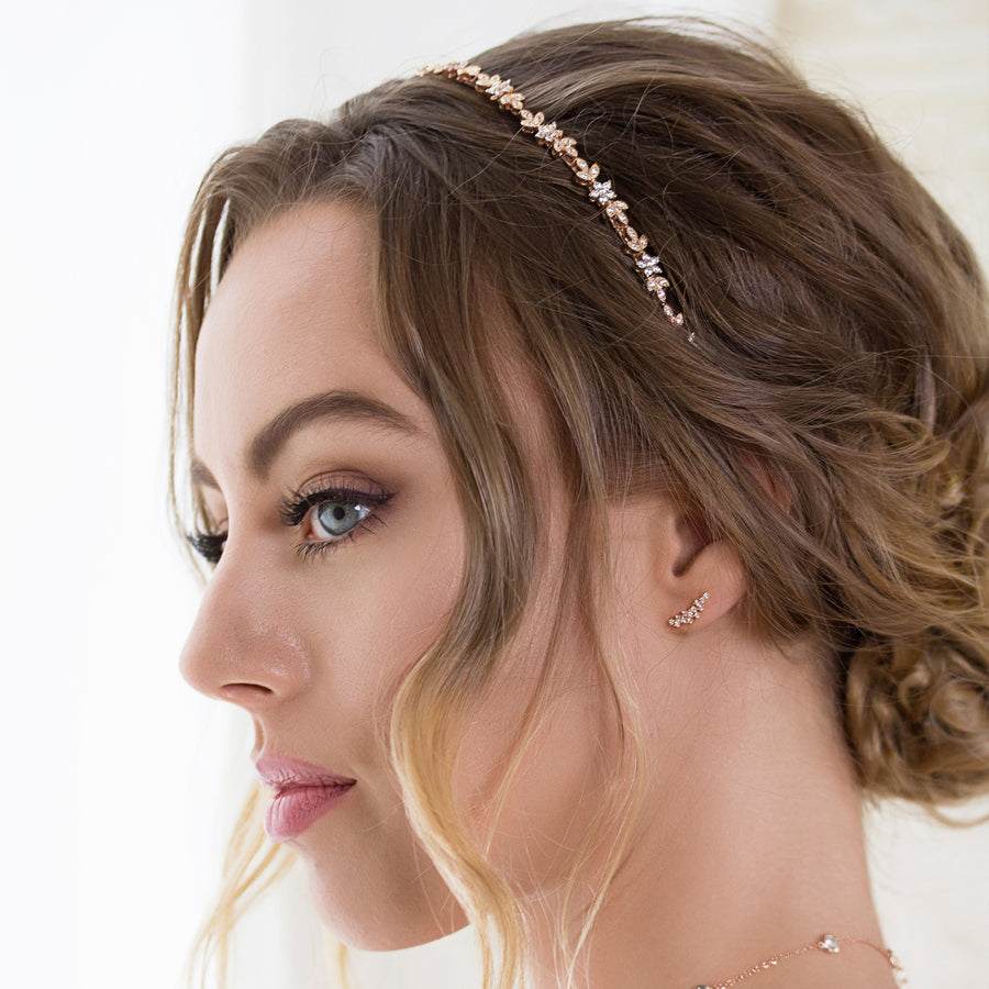 Aria Floral Crystal Headband - Amy O. Bridal