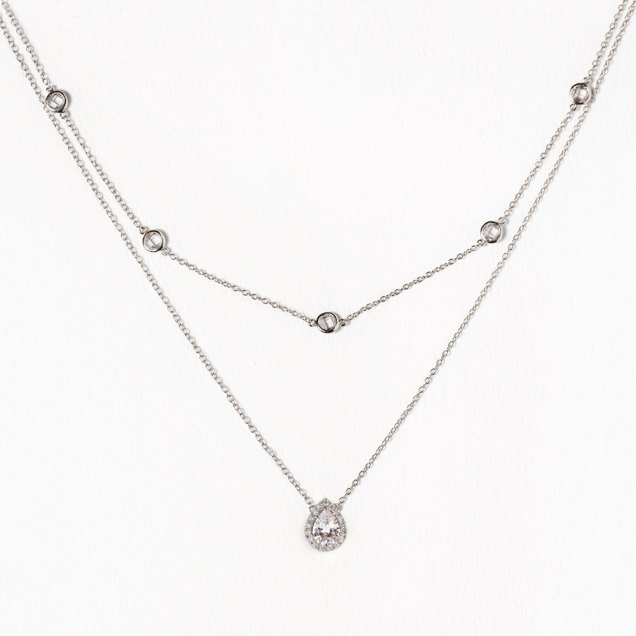 Crystal Chain Teardrop Layered Necklace