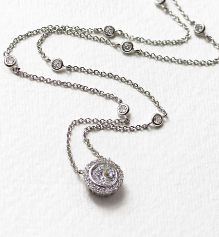 Sophia Crystal Chain Silver Necklace