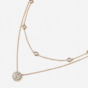 Crystal Chain Round Layered Necklace