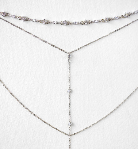 Marqui Silver Choker Lariat Necklace - Amy O. Bridal