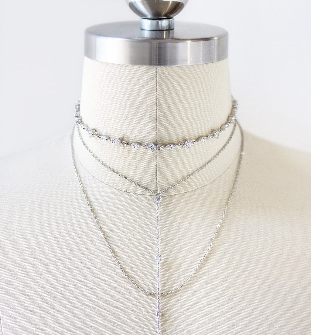 Marqui Silver Choker Lariat Necklace