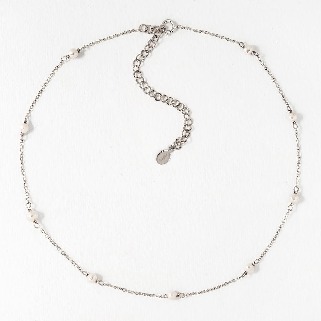 Pearl Lariat Silver Necklace