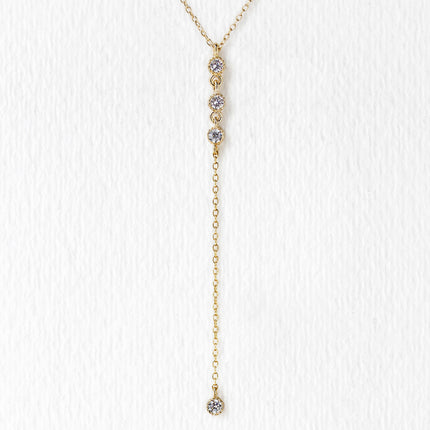 Dakota Three Crystal  Lariat Necklace