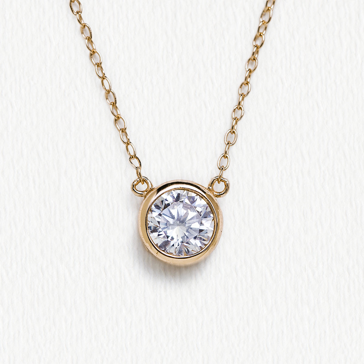 Gold Solitaire Pendant Necklace