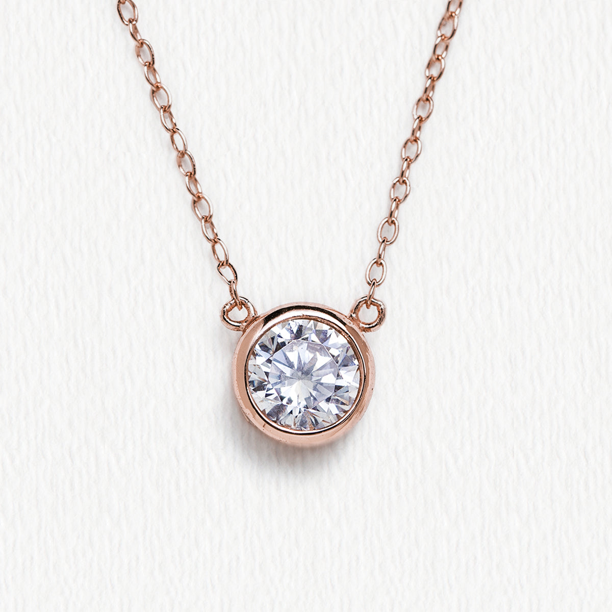 Rose Gold Solitaire Necklace