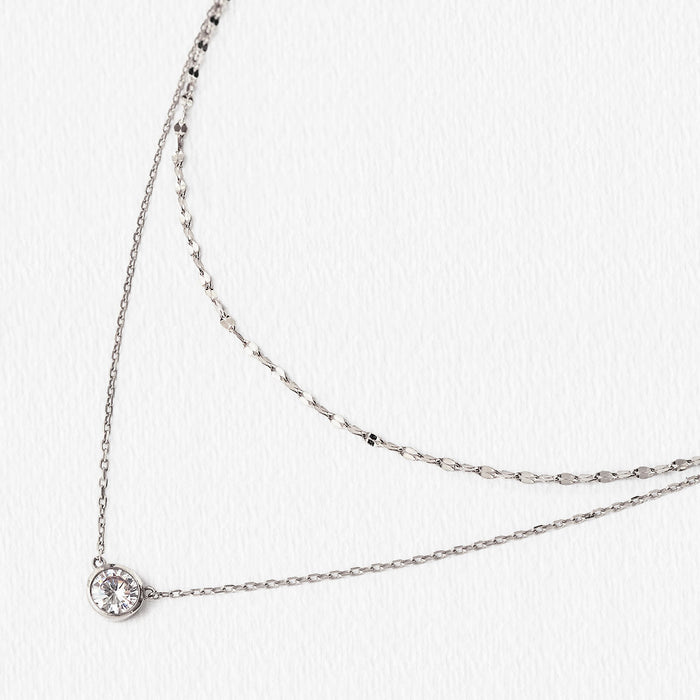 Dakota Solitaire Crystal Layered Necklace