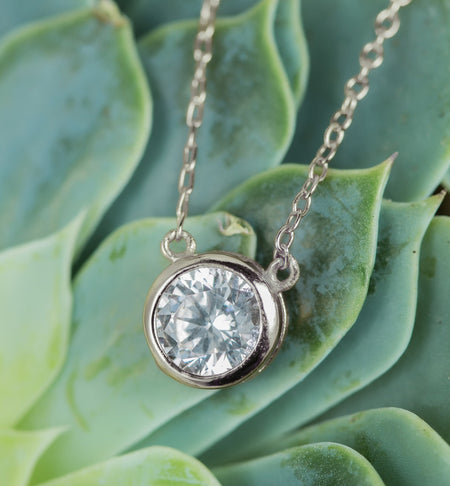 Dakota Solitaire Crystal Pendant in Silver