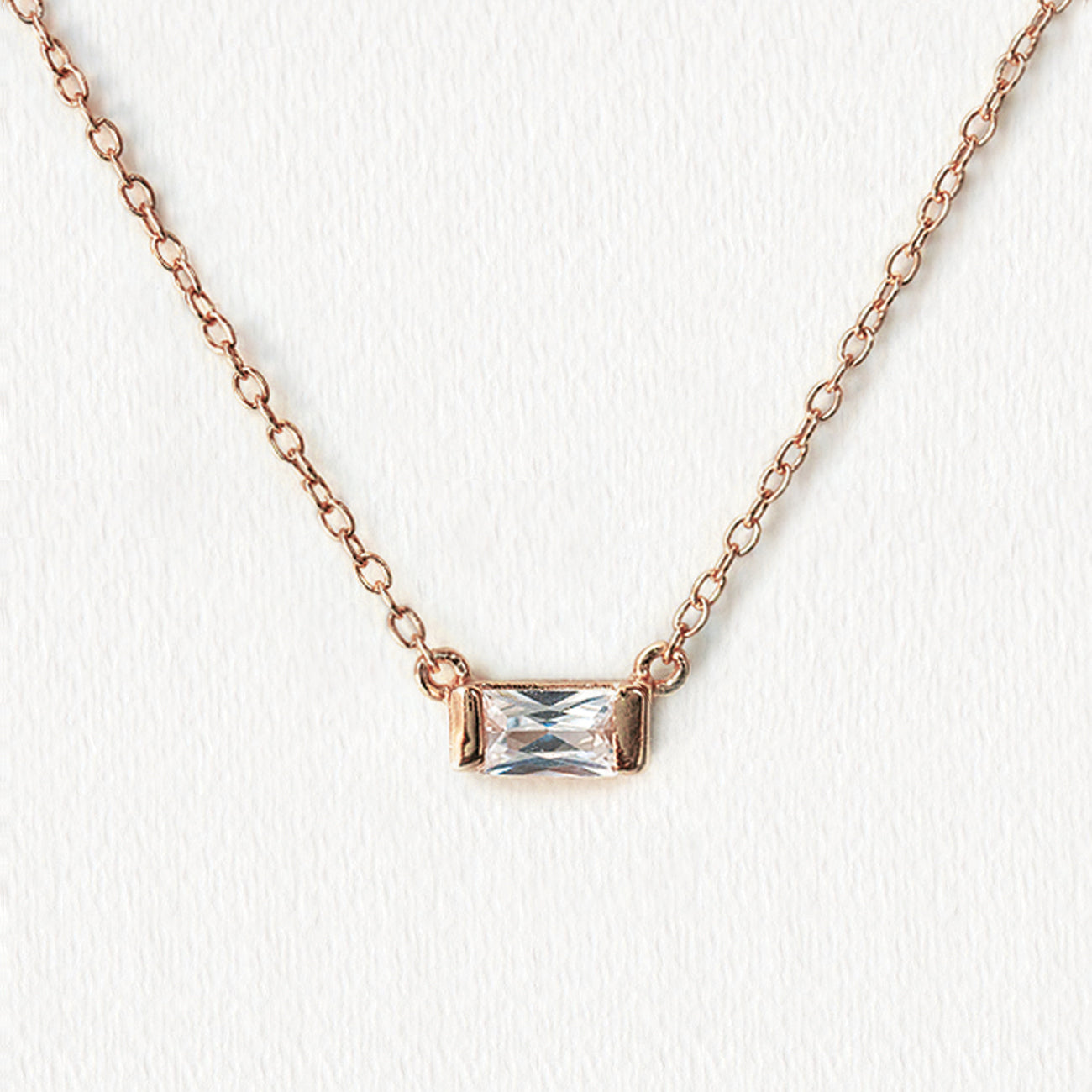 Rose Gold Baguette Necklace