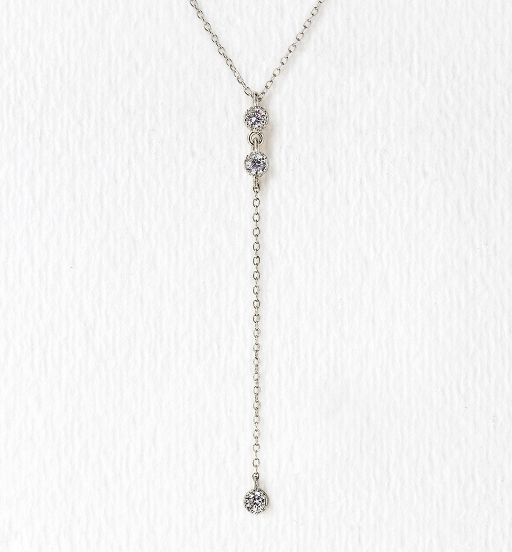 Ella Mini White Gold Lariat