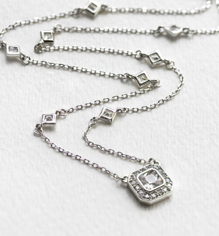 Asscher Crystal Chain Silver Necklace
