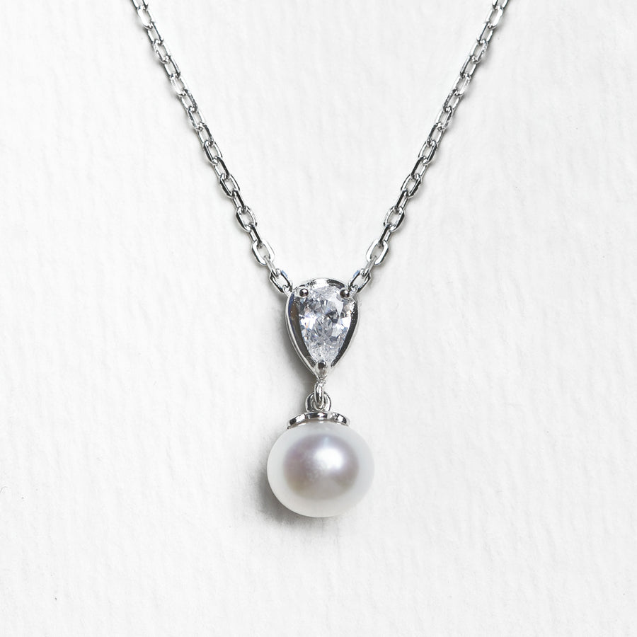 Halo Freshwater Pearl Pendant Necklace - Amy O. Bridal