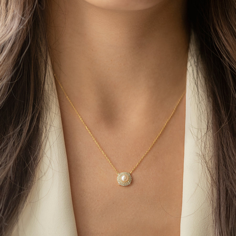 Freshwater Pearl CZ Halo Necklace - Amy O. Bridal
