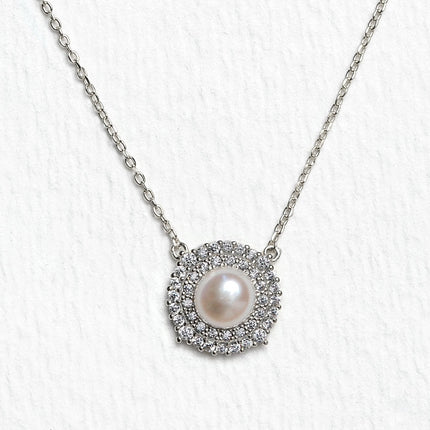 Freshwater Pearl CZ Halo Necklace