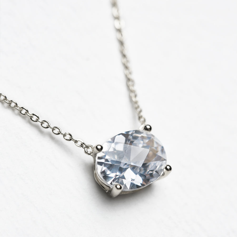 Noelle Solitaire Oval Crystal Pendant - Amy O. Bridal