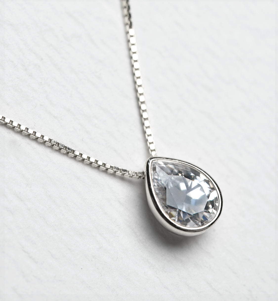 Willow Solitaire Teardrop Pendant - Amy O. Bridal