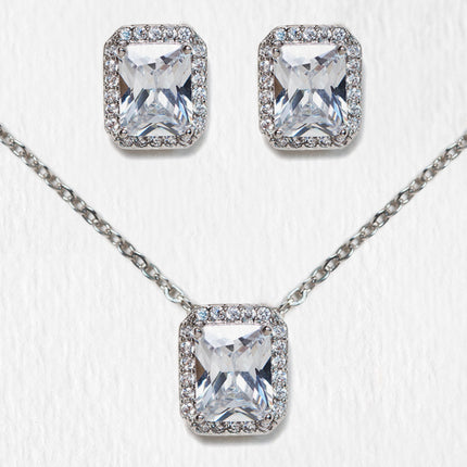 Emerald Cut Earring and Necklace Set