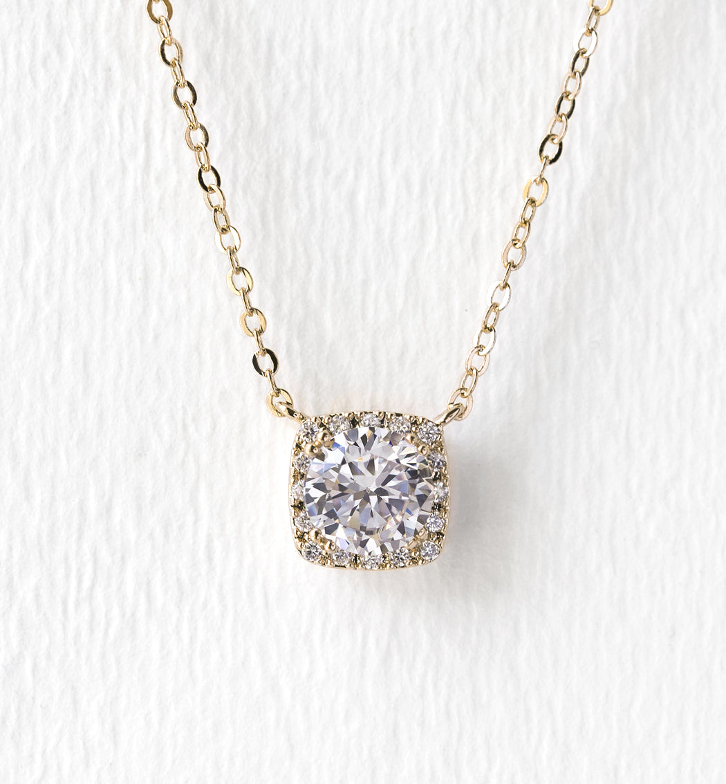 Beau Cushion Pendant Necklace - Amy O. Bridal