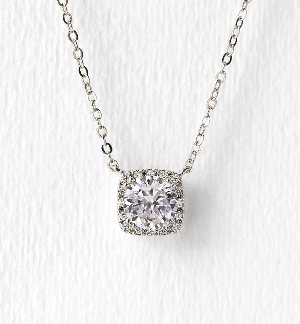 Cushion Round Crystal Pendant Necklace - Silver