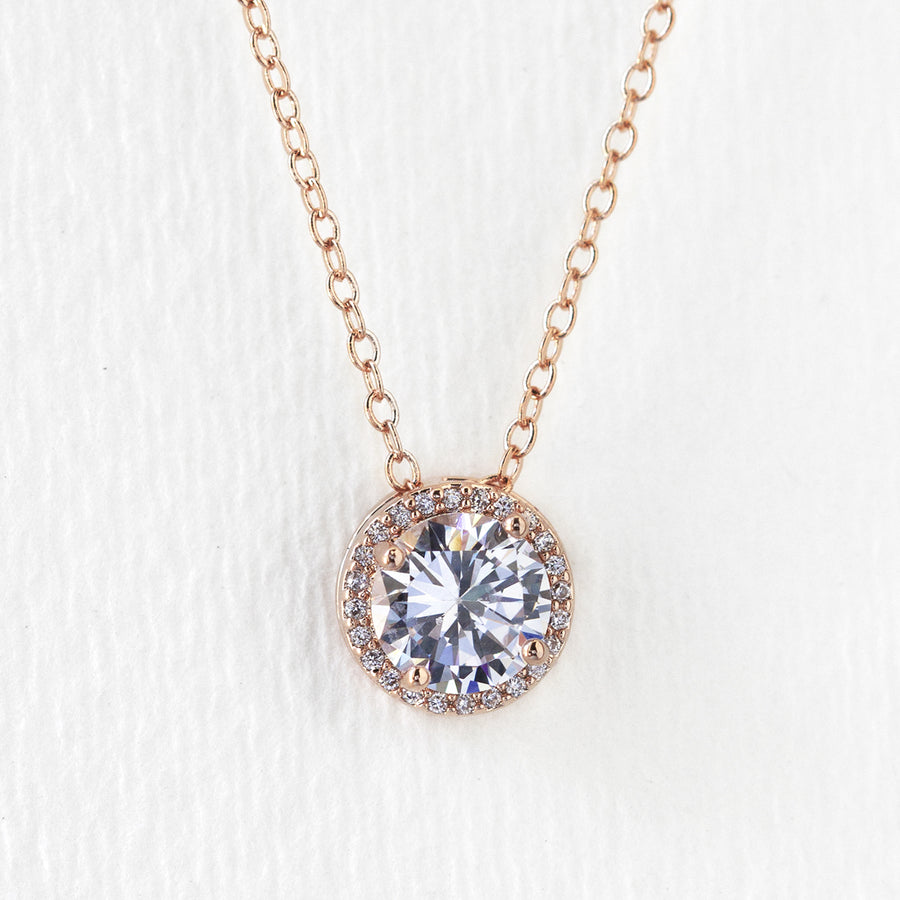 Sophia Round Pendant Necklace - Amy O. Bridal