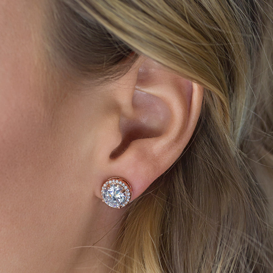 Sophia Round Crystal Stud Earrings - Amy O. Bridal