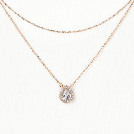 Pear Halo Layered Necklace