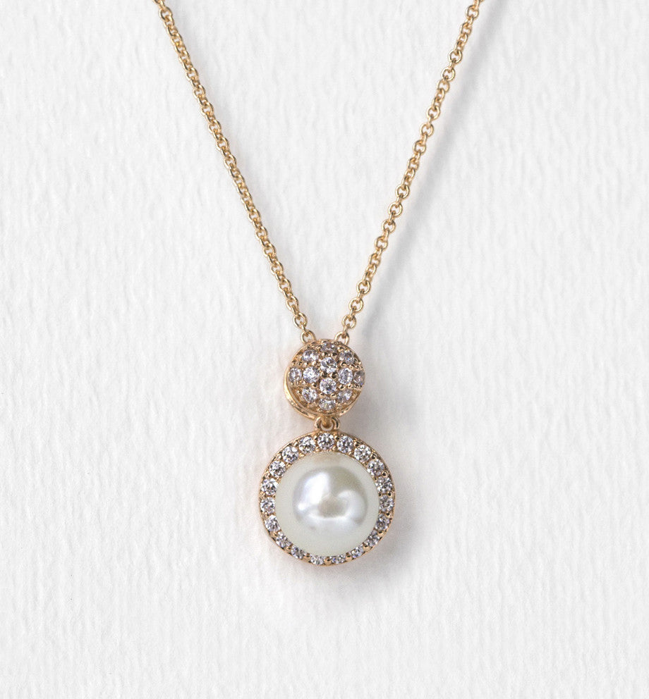 Brea Pearl Pendant Necklace - Amy O. Bridal