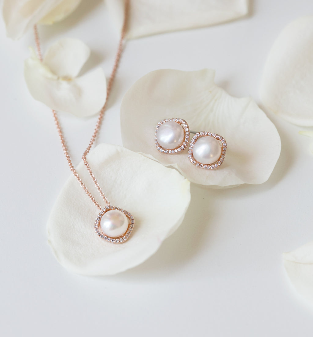 classic pearl rose gold pendant set - Amy O. Bridal