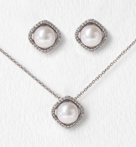 Classic Pearl Silver Jewelry Set