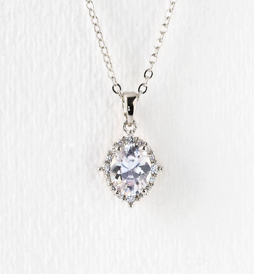 Cleo Crystal Pendant Necklace in Silver