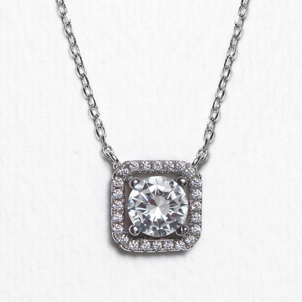 Beau Cushion Halo Pendant Necklace