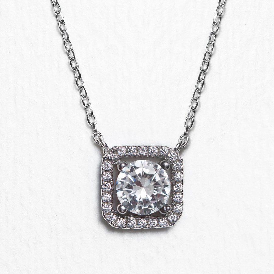 Beau Cushion Halo Pendant Necklace - Amy O. Bridal