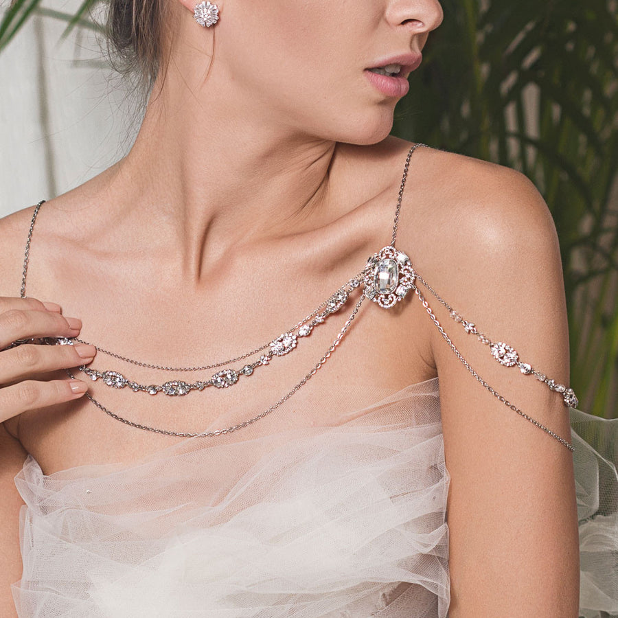Jules Swarovski Shoulder Necklace - Amy O. Bridal