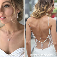 Matching Bridal 14K White Gold Front and Back Necklace with low back wedding dress