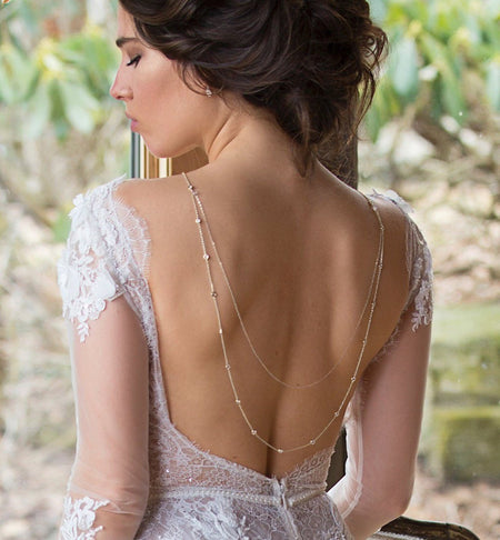 Dakota U Crystal Back Necklace - Amy O. Bridal